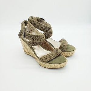 Olive Green Braided Wedge Espadrille Sandal